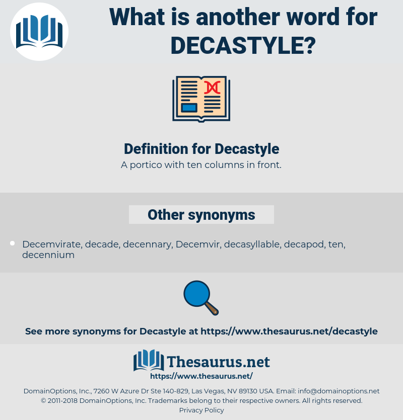 Decastyle, synonym Decastyle, another word for Decastyle, words like Decastyle, thesaurus Decastyle