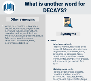 decays, synonym decays, another word for decays, words like decays, thesaurus decays