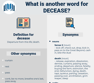 decease, synonym decease, another word for decease, words like decease, thesaurus decease