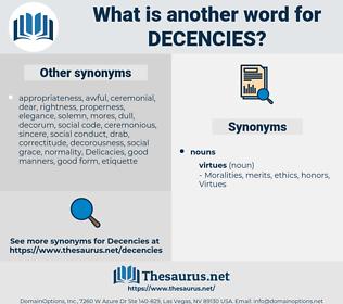 Decencies, synonym Decencies, another word for Decencies, words like Decencies, thesaurus Decencies