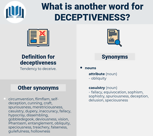 deceptiveness, synonym deceptiveness, another word for deceptiveness, words like deceptiveness, thesaurus deceptiveness