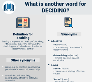 deciding, synonym deciding, another word for deciding, words like deciding, thesaurus deciding