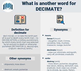 decimate, synonym decimate, another word for decimate, words like decimate, thesaurus decimate