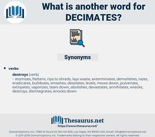 decimates, synonym decimates, another word for decimates, words like decimates, thesaurus decimates