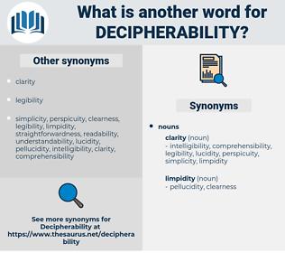 decipherability, synonym decipherability, another word for decipherability, words like decipherability, thesaurus decipherability
