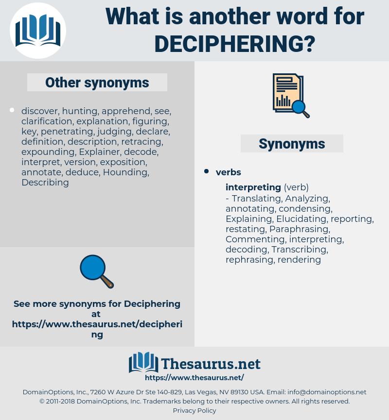 Deciphering, synonym Deciphering, another word for Deciphering, words like Deciphering, thesaurus Deciphering