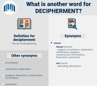 decipherment, synonym decipherment, another word for decipherment, words like decipherment, thesaurus decipherment