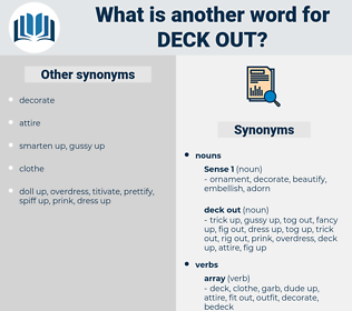 deck out, synonym deck out, another word for deck out, words like deck out, thesaurus deck out