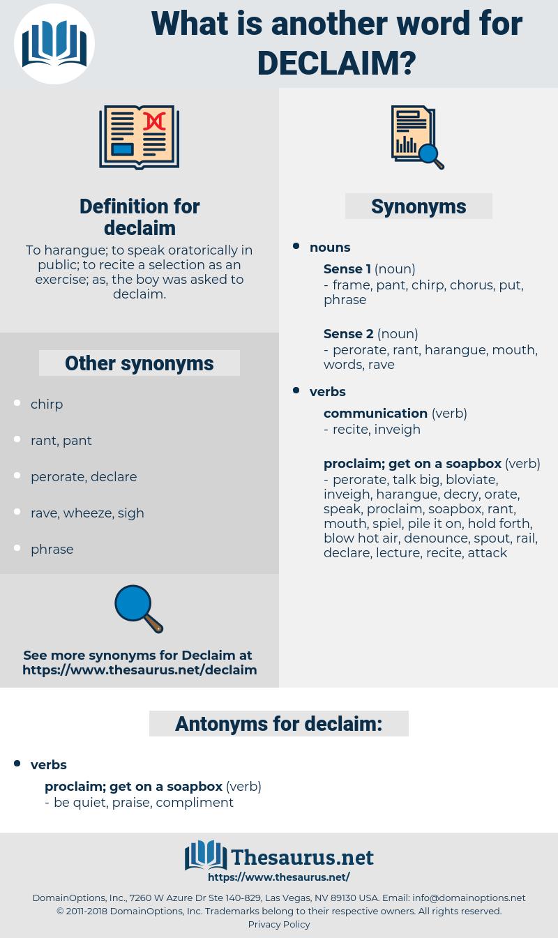 declaim, synonym declaim, another word for declaim, words like declaim, thesaurus declaim