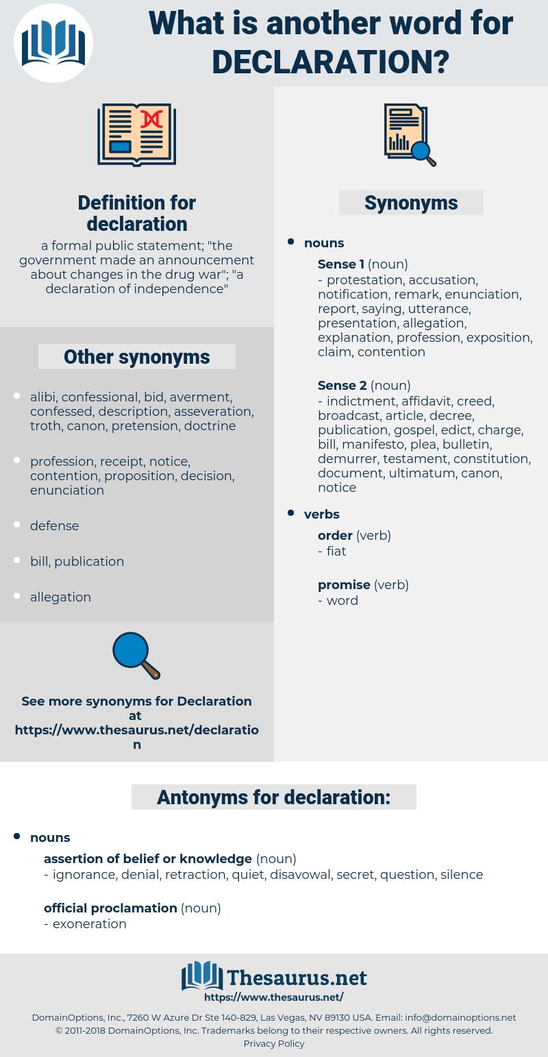 declaration, synonym declaration, another word for declaration, words like declaration, thesaurus declaration