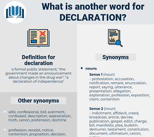 declaration, synonym declaration, another word for declaration, words like declaration, thesaurus declaration