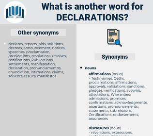 declarations, synonym declarations, another word for declarations, words like declarations, thesaurus declarations