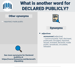declared publicly, synonym declared publicly, another word for declared publicly, words like declared publicly, thesaurus declared publicly