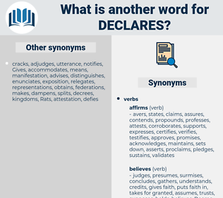 declares, synonym declares, another word for declares, words like declares, thesaurus declares