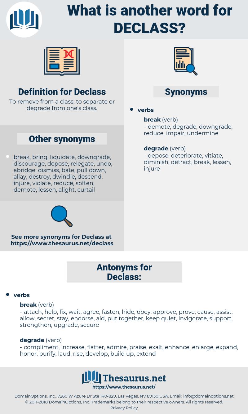 Declass, synonym Declass, another word for Declass, words like Declass, thesaurus Declass