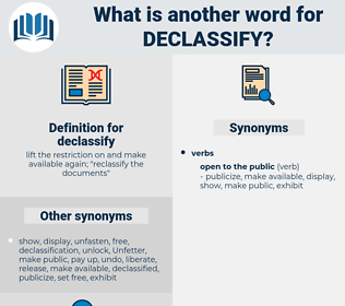 declassify, synonym declassify, another word for declassify, words like declassify, thesaurus declassify
