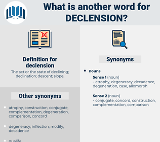 declension, synonym declension, another word for declension, words like declension, thesaurus declension