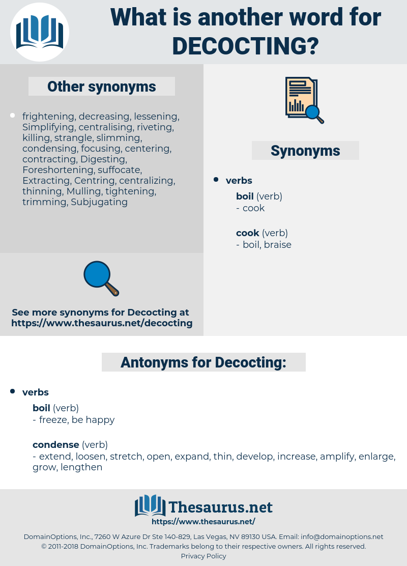 Decocting, synonym Decocting, another word for Decocting, words like Decocting, thesaurus Decocting