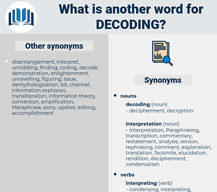 decoding, synonym decoding, another word for decoding, words like decoding, thesaurus decoding