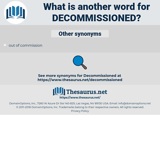 decommissioned, synonym decommissioned, another word for decommissioned, words like decommissioned, thesaurus decommissioned