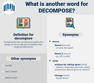 decompose, synonym decompose, another word for decompose, words like decompose, thesaurus decompose