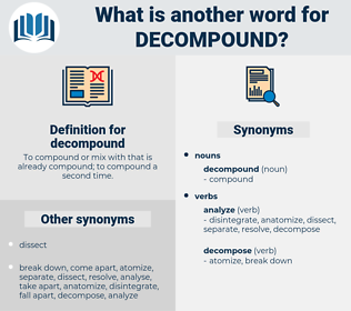 decompound, synonym decompound, another word for decompound, words like decompound, thesaurus decompound