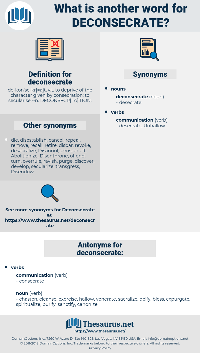 deconsecrate, synonym deconsecrate, another word for deconsecrate, words like deconsecrate, thesaurus deconsecrate