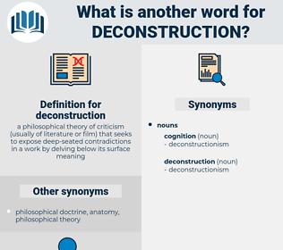 deconstruction, synonym deconstruction, another word for deconstruction, words like deconstruction, thesaurus deconstruction