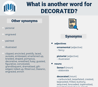 decorated, synonym decorated, another word for decorated, words like decorated, thesaurus decorated