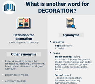 decoration, synonym decoration, another word for decoration, words like decoration, thesaurus decoration