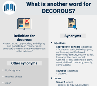 decorous, synonym decorous, another word for decorous, words like decorous, thesaurus decorous