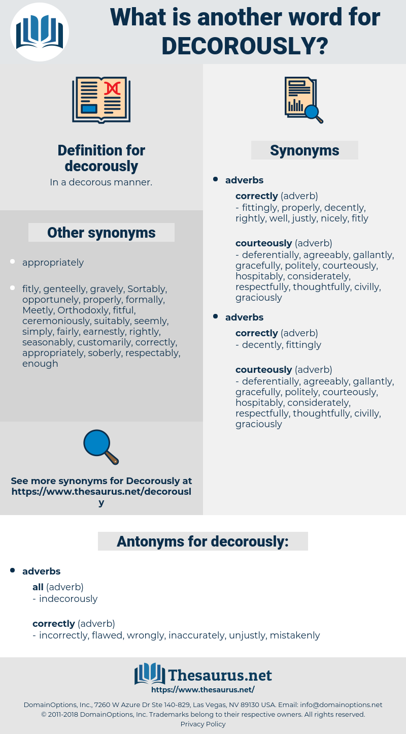 decorously, synonym decorously, another word for decorously, words like decorously, thesaurus decorously