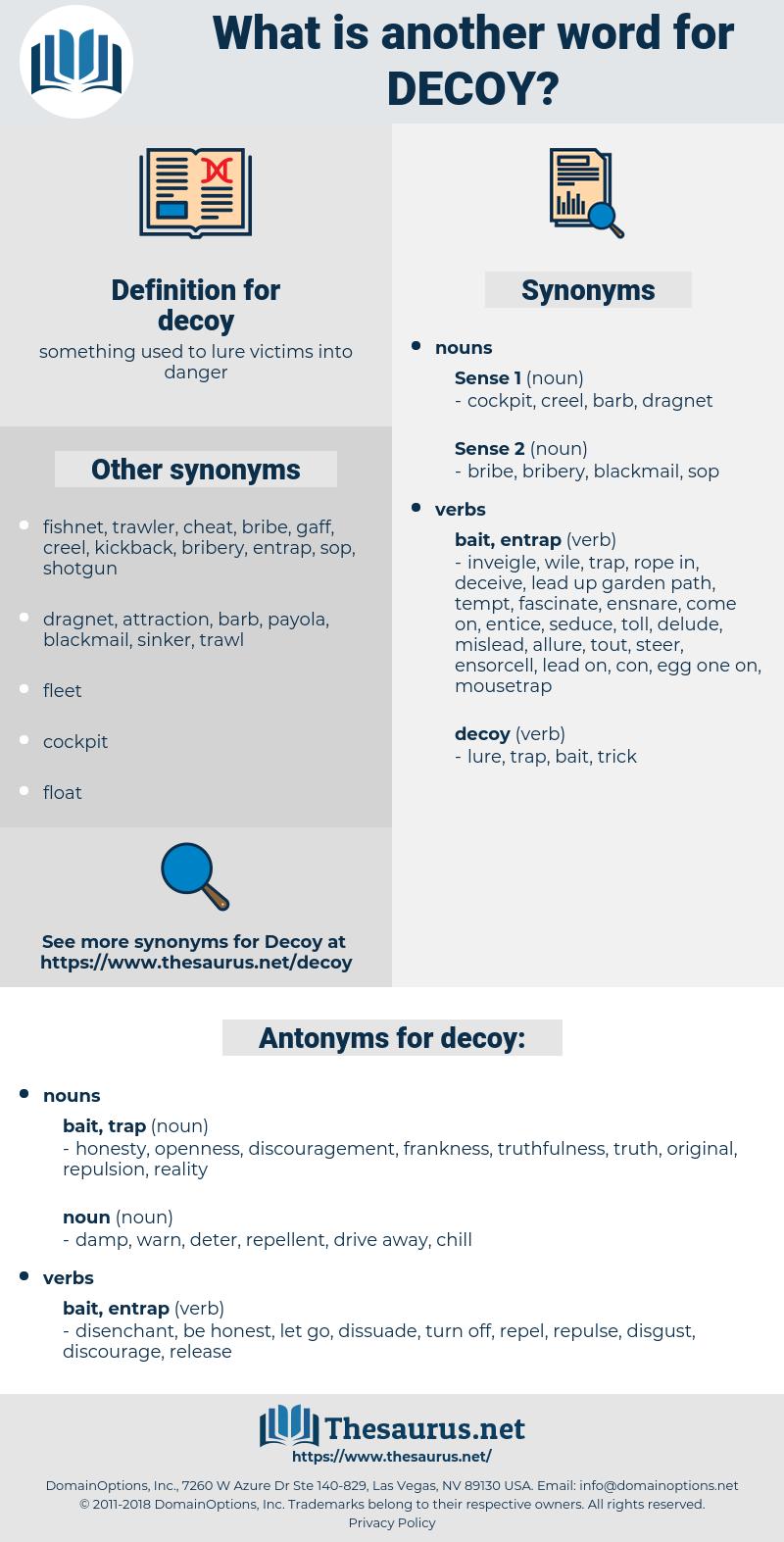 decoy, synonym decoy, another word for decoy, words like decoy, thesaurus decoy
