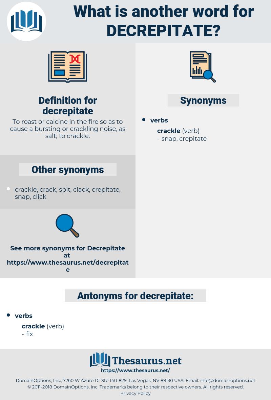 decrepitate, synonym decrepitate, another word for decrepitate, words like decrepitate, thesaurus decrepitate