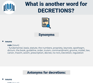 decretions, synonym decretions, another word for decretions, words like decretions, thesaurus decretions