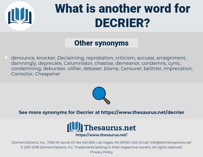 Decrier, synonym Decrier, another word for Decrier, words like Decrier, thesaurus Decrier