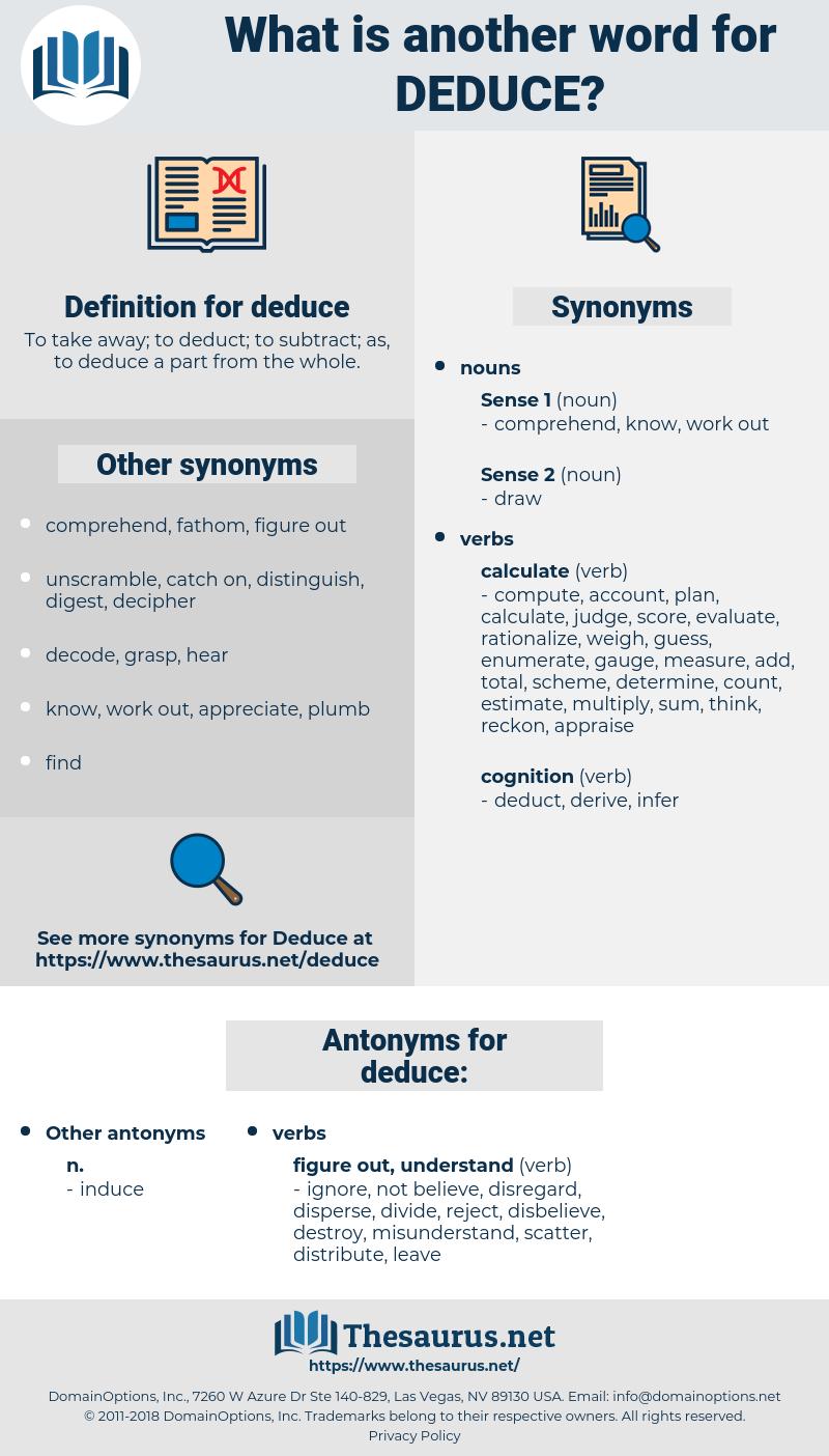 deduce, synonym deduce, another word for deduce, words like deduce, thesaurus deduce