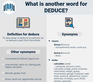 deduce, synonym deduce, another word for deduce, words like deduce, thesaurus deduce