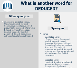 Deduced, synonym Deduced, another word for Deduced, words like Deduced, thesaurus Deduced