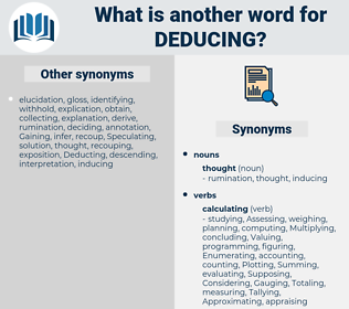 Deducing, synonym Deducing, another word for Deducing, words like Deducing, thesaurus Deducing