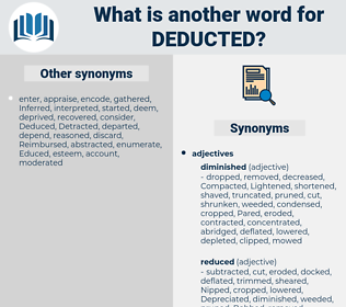 deducted, synonym deducted, another word for deducted, words like deducted, thesaurus deducted