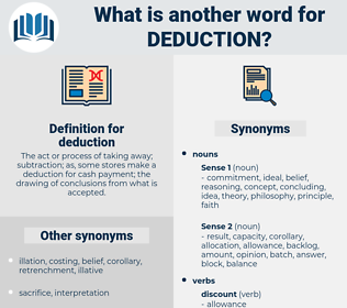 deduction, synonym deduction, another word for deduction, words like deduction, thesaurus deduction