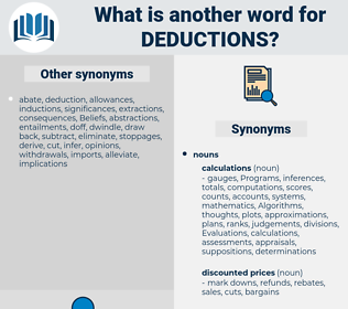 deductions, synonym deductions, another word for deductions, words like deductions, thesaurus deductions