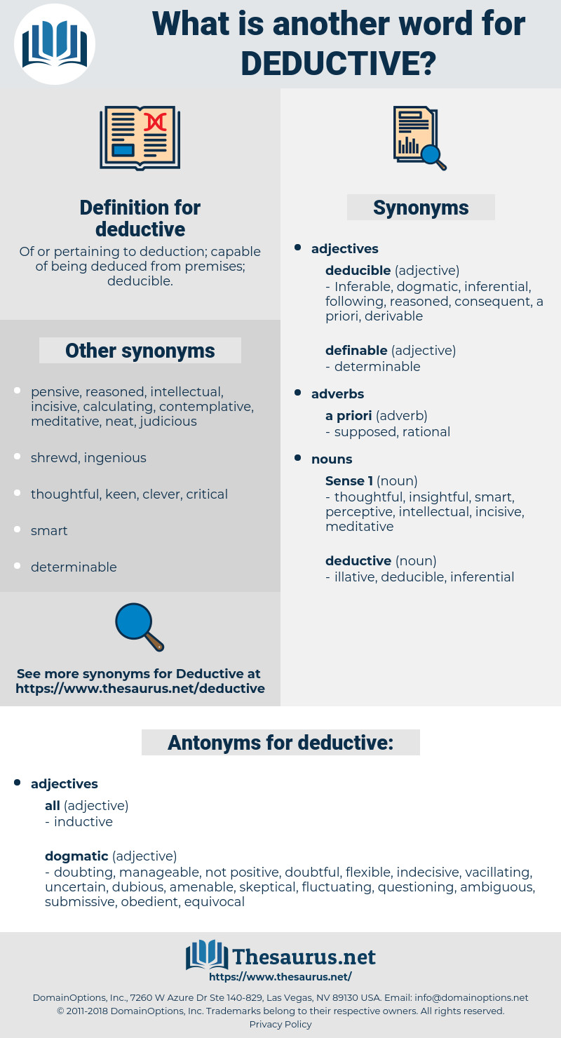 deductive, synonym deductive, another word for deductive, words like deductive, thesaurus deductive