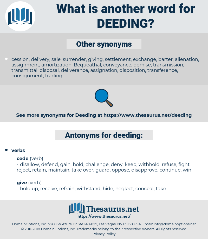 deeding, synonym deeding, another word for deeding, words like deeding, thesaurus deeding