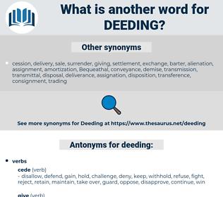deeding, synonym deeding, another word for deeding, words like deeding, thesaurus deeding
