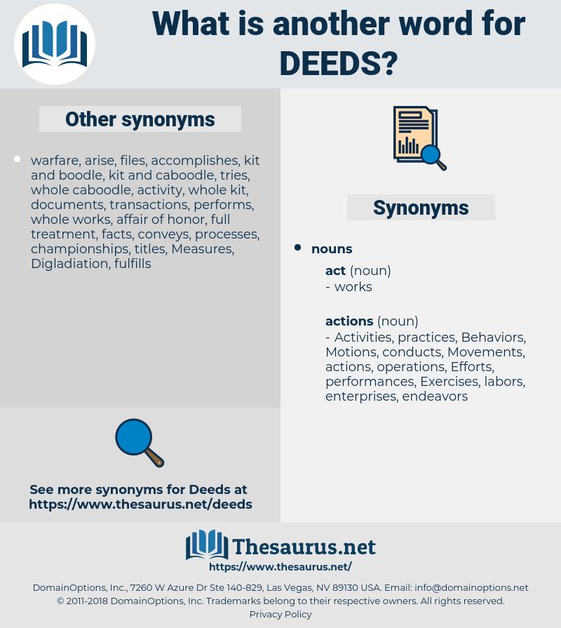 deeds, synonym deeds, another word for deeds, words like deeds, thesaurus deeds