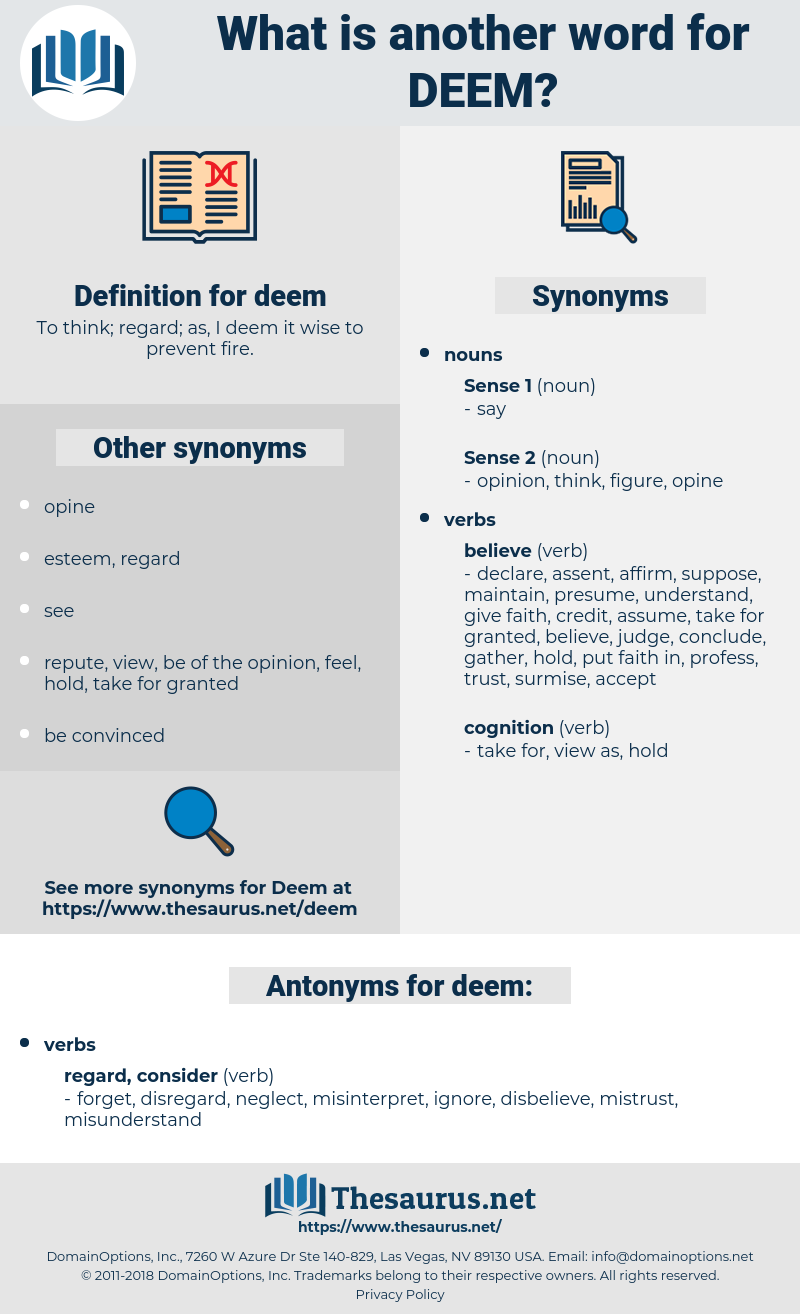 deem, synonym deem, another word for deem, words like deem, thesaurus deem