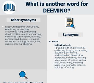 Deeming, synonym Deeming, another word for Deeming, words like Deeming, thesaurus Deeming