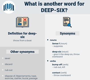 deep-six, synonym deep-six, another word for deep-six, words like deep-six, thesaurus deep-six